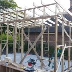 workshop frame with roof beams