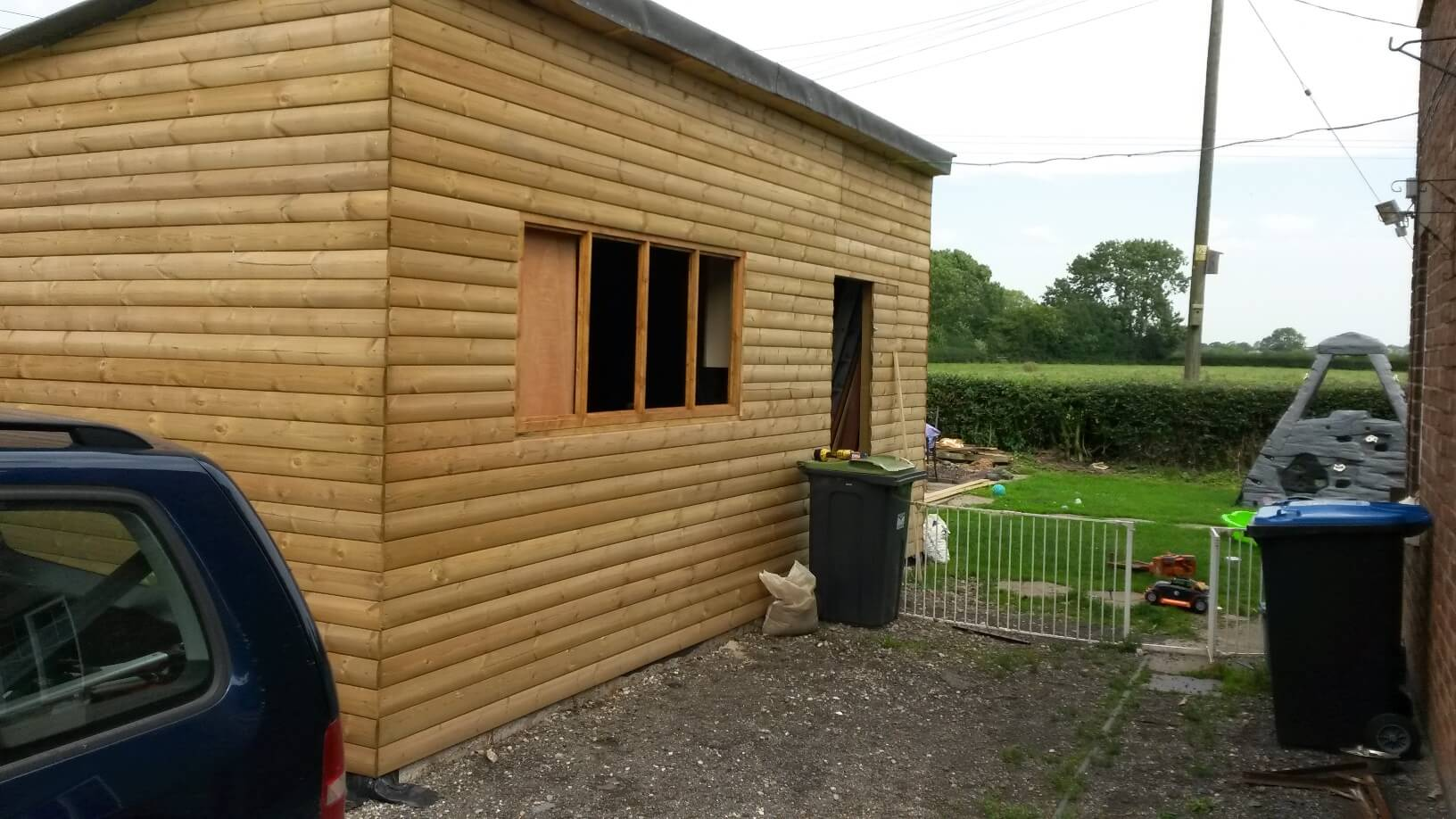 workshop with window frames fitted